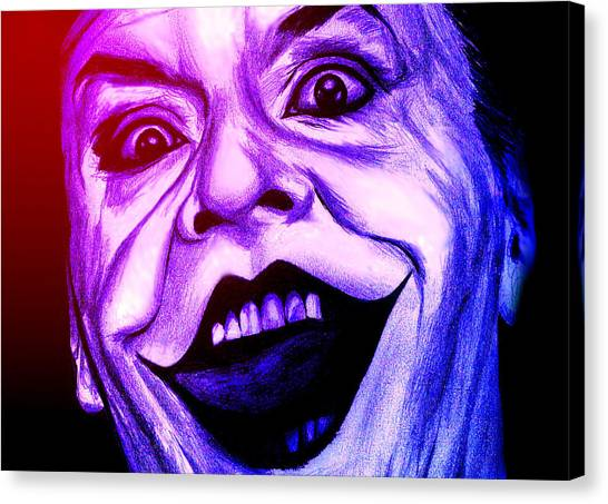 Joker Neon Canvas Print by Michael Mestas