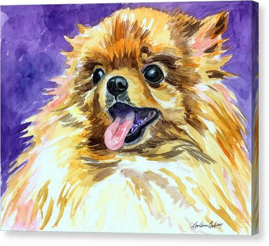 Watercolor Pet Portraits Canvas Print - Joyous Soul - Pomeranian by Lyn Cook