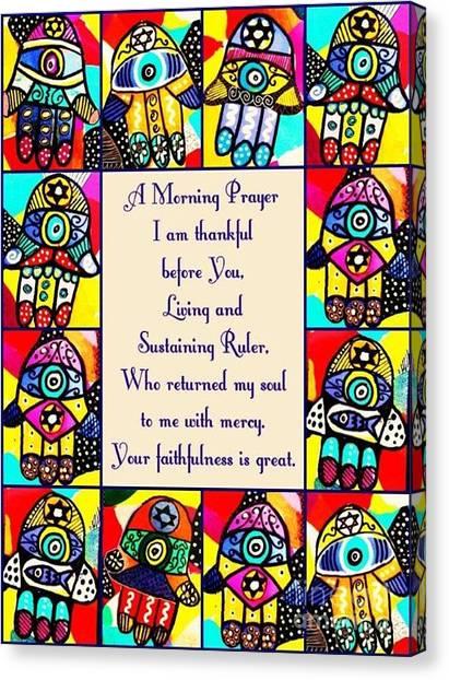 bridal shower canvas print judaica morning prayer by sandra silberzweig