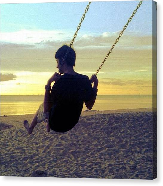 Swing Canvas Print - Judson! #swing #swinging #sky by Seth Stringer
