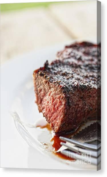 Ribeye Canvas Print - Juicy Steak by Andre Babiak