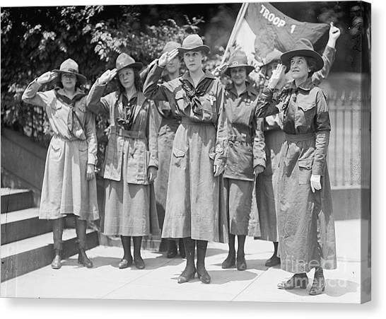 Girl Scouts Canvas Print - Juliette Daisy Low, Founder Of The Girl by Photo Researchers