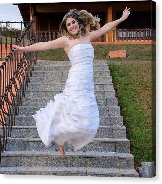 Groom Canvas Print - Jumping Bride by Adriana Guimaraes