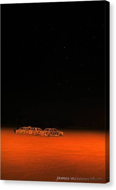 Junk Yard On Mars Canvas Print by James Mcinnes