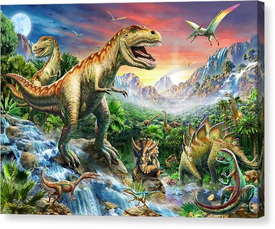 Tyrannosaurus Canvas Print - Jurassic Landscape by Adrian Chesterman