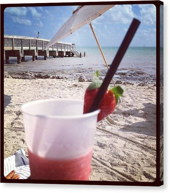 Strawberries Canvas Print - Just Chilling On The Beach Living The by The Fun Enthusiast
