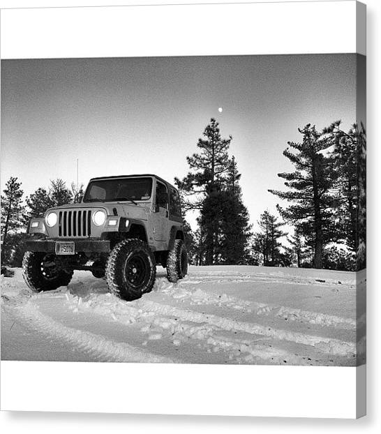 Jeep Canvas Print - Just Out Enjoying The Snow Up Above by James Crawshaw
