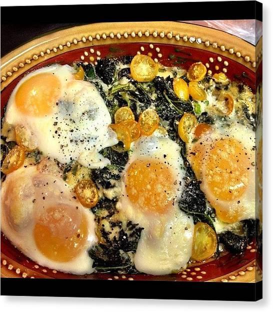 Tomato Canvas Print - #kale, #tomatoes, #eggs, #scallions by Barbara Urena