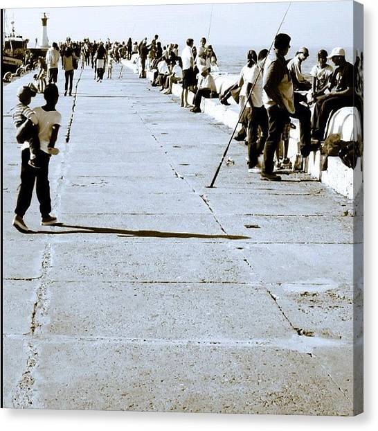 Fishing Canvas Print - #kalkbaai,#people,#capetown ,#jj_forum by Johan Van Zyl