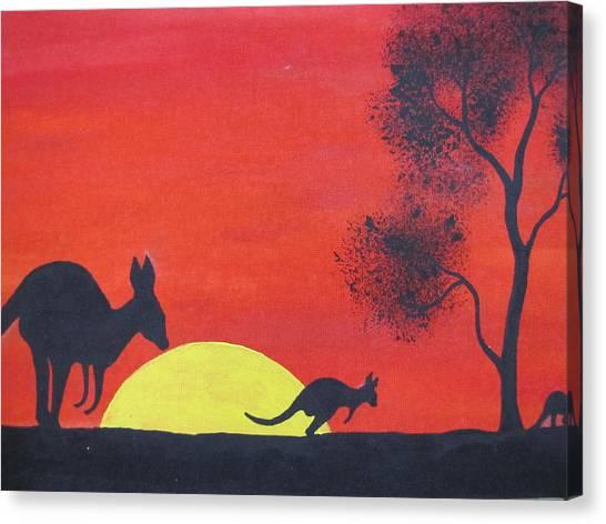 Kangaroo Sunset  Canvas Print by Courtney Adams