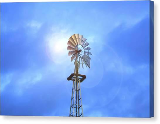 Kansas Windmill In The Sun Canvas Print