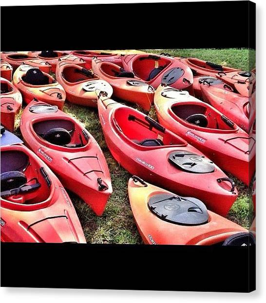 Kayaks Canvas Print - #kayak #kayaks #watersport  #red by Aaron Justice