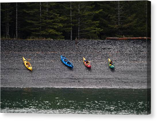 Kayak Shore Canvas Print