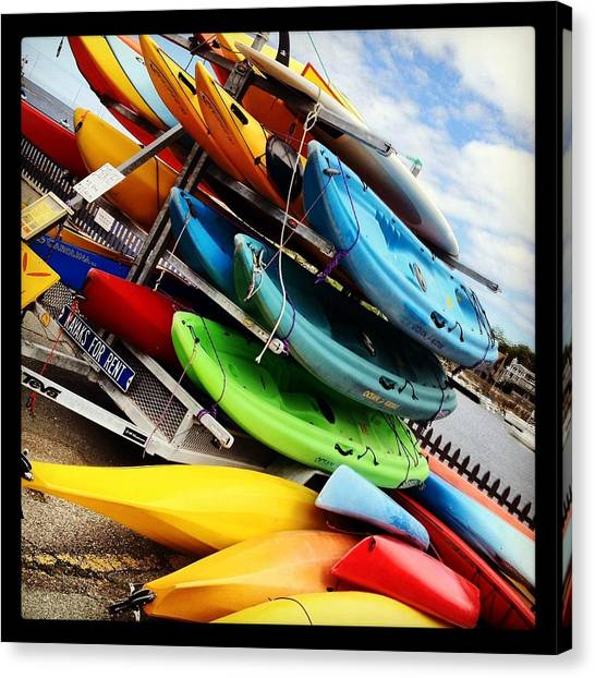 Kayaks For Rent In Rockport Canvas Print by Matthew Green