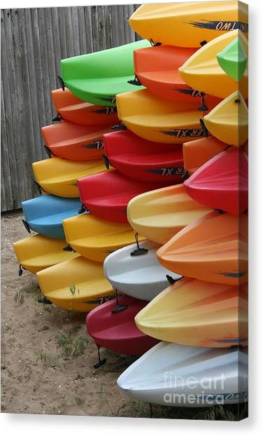 Kayaks Canvas Print by Kerryn Davis