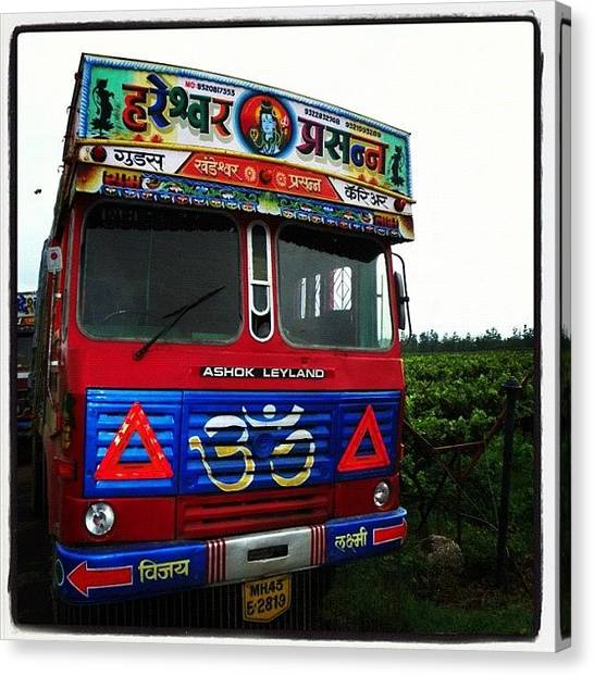 Vineyard Canvas Print - Keep On Trucking #truck #india #nasik by Richard Randall