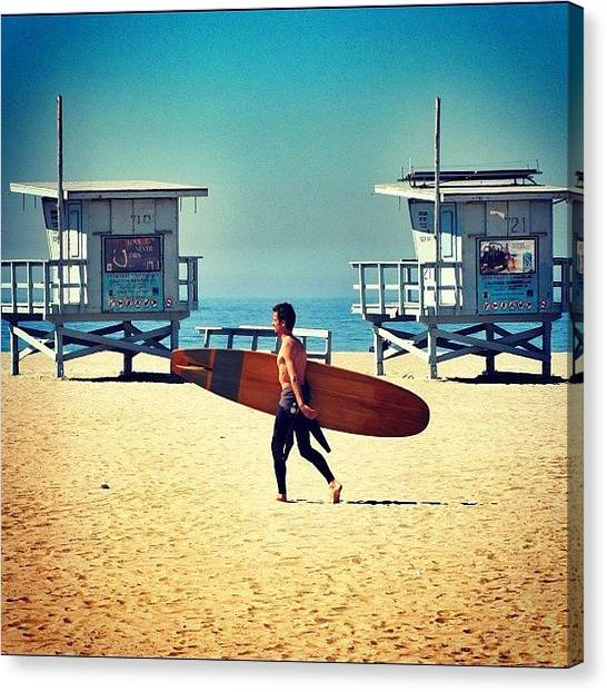 Surfing Canvas Print - Keeping With The #beach Theme...another by Loren Southard
