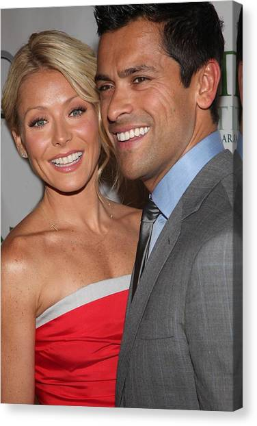 Kelly Ripa, Mark Consuelos At Arrivals Canvas Print by Everett
