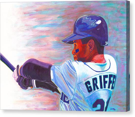 Seattle Mariners Canvas Print - Ken Griffey Jr by Jeff Gomez