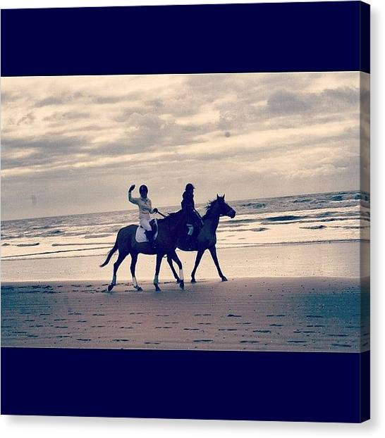 Race Horses Canvas Print - #kent #waves #sea #camber #sands by Lewisduncan Duncan