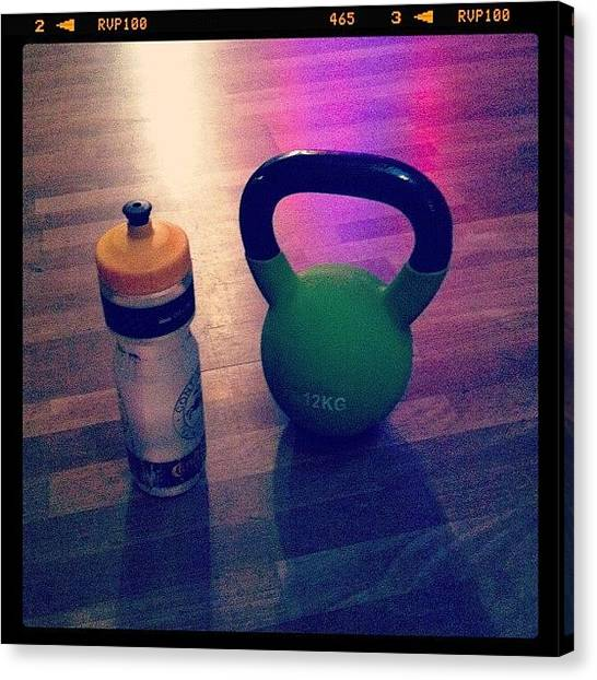 Gym Canvas Print - Kettlebelltime by Mikael Andersson