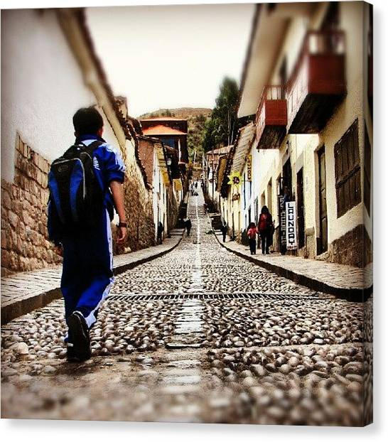 Peruvian Canvas Print - #kid Walking On A #stone #street In by Yannick Menard