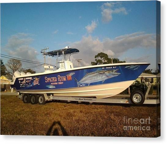 Yamaha Canvas Print - Kingfish Boat Wrap by Carey Chen