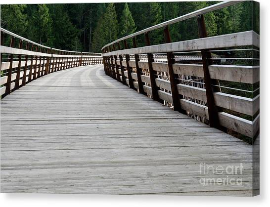 Wooden Canvas Print - Kinsol Walkway Kinsol Trestle Pathway Across The Railroad Bridge Restored by Andy Smy