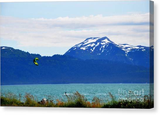 Kitesurfing In Alaska Canvas Print by Tanya  Searcy
