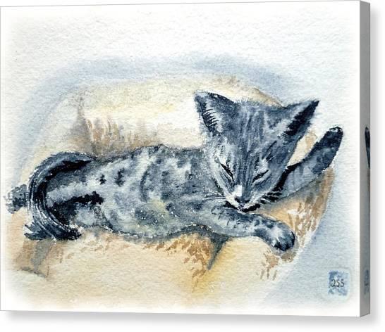 Watercolor Pet Portraits Canvas Print - Kitten by Irina Sztukowski