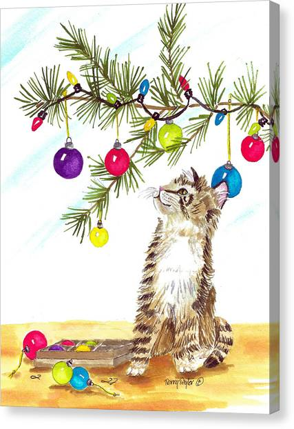 Kitten's First Christmas Canvas Print