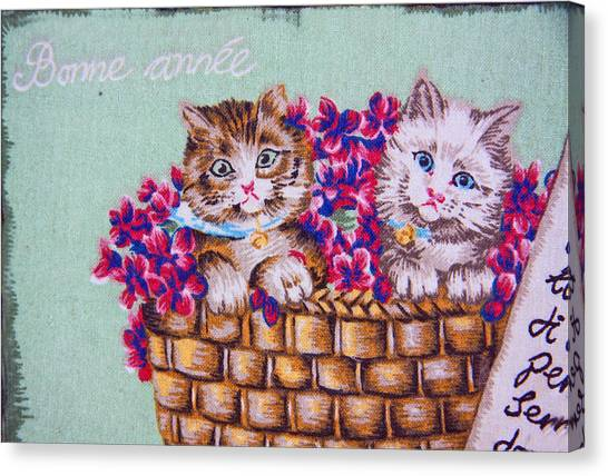 Kittens In A Basket Canvas Print by Chet King