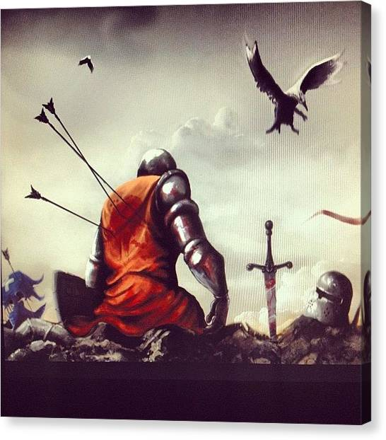 Dragons Canvas Print - Knight Fall by Ilker Yuksel