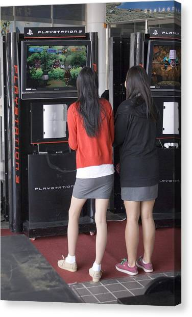 Playstation Canvas Print - Korean Girls At Playstation Console by Mark Williamson