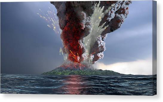 Krakatoa Canvas Print - Krakatau Volcano Explosion, Artwork by Take 27 Ltd