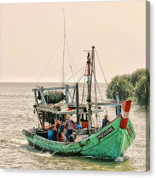 Fishing Boats Canvas Print - Kuala Selangor, Malaysia #water #sea by Manan Din
