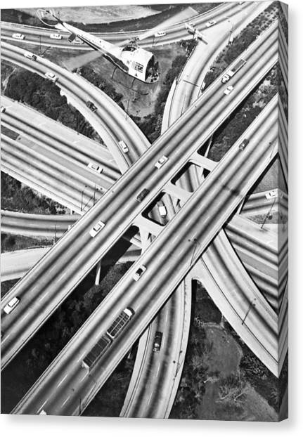 Cement Canvas Print - La Freeway Interchange by Underwood Archives