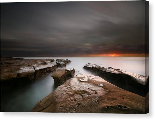 Sun Canvas Print - La Jolla Reef Sunset by Larry Marshall