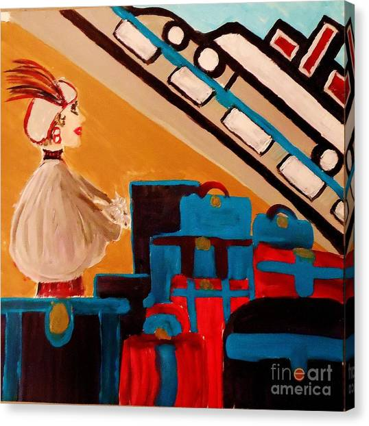 La Shai Waits For The Queen Mary II Canvas Print by Marie Bulger