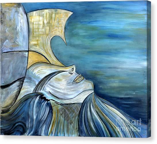 Beautiful Mysterious Blue Woman Portrait La Sirene French For Mermaid Mythic Siren Original Painting Canvas Print by Marie Christine Belkadi