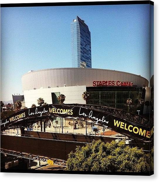 Stadiums Canvas Print - L.a. Welcomes All... For A Quick Visit by Andres Cruz