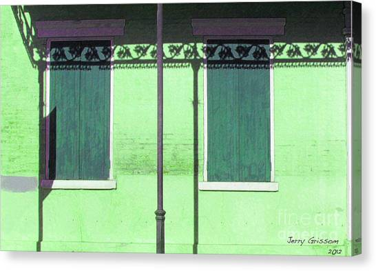 Lace Shadows And Plank Shutters Canvas Print by Jerry Grissom