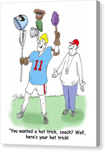 Hat Trick Canvas Print - Lacrosse Hat Trick by John Crowther