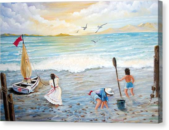 Lady Bay Children On The Beach Canvas Print by Janna Columbus