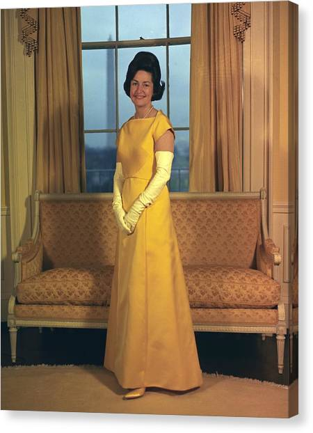 Lyndon Johnson Canvas Print - Lady Bird Johnsons Inaugural Gown. The by Everett