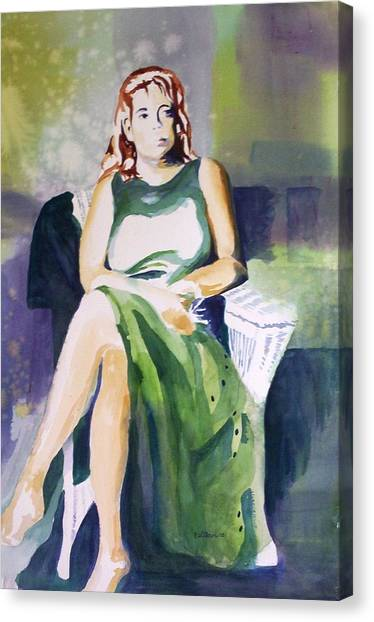 Lady In Green Canvas Print