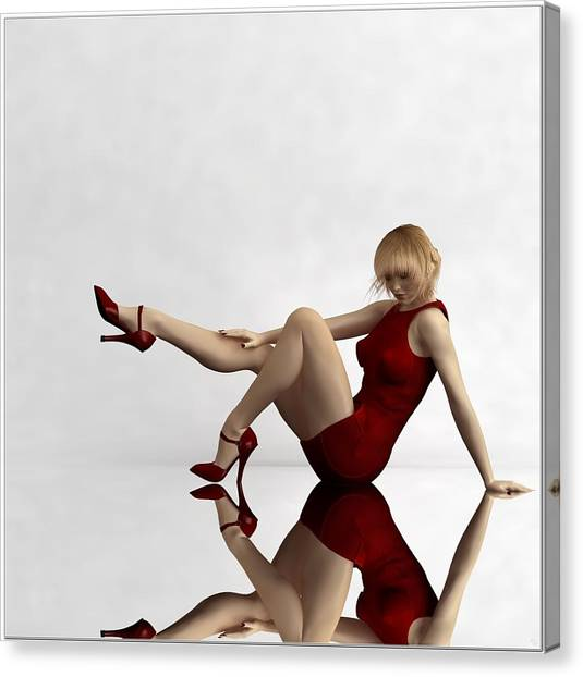 Lady In Red... Canvas Print