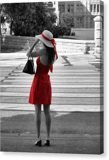 Lady In Red With Color Splash Canvas Print