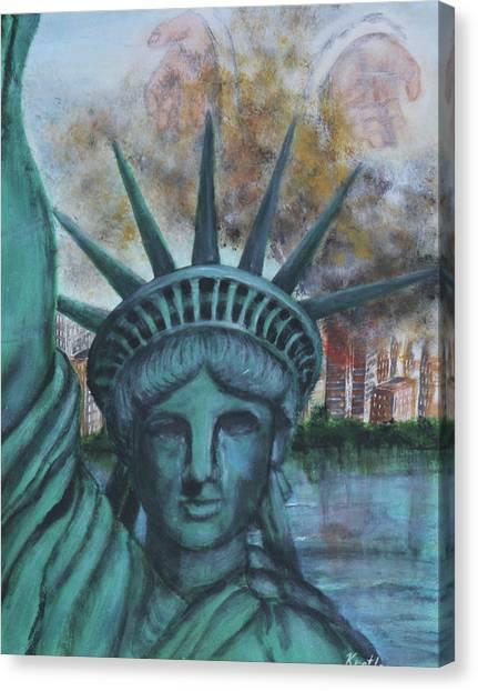 Lady Liberty Cries Canvas Print