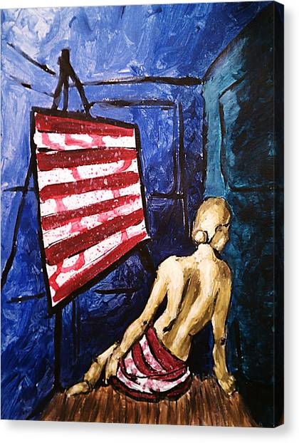 Lady Liberty Female Flag Figure Painting In Red Green Blue And Yellow Canvas Print